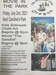 Free Movie in the Park. Friday Night, 7/2!