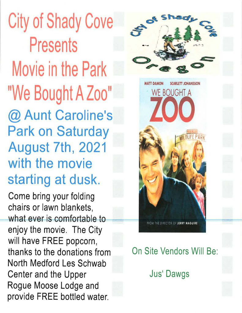 """Movie in the Park August 7! """"We Bought a Zoo!"""""""