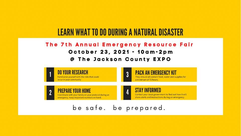 Emergency Resource Fair 10/23/21 Jackson County Expo