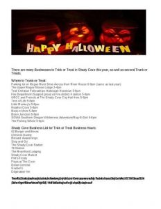 Trick or Treat and Trunk or Treat in Shady Cove!